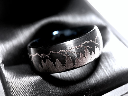Mens Wedding Bands, Fir Trees in Mountains Forest landscape Pattern, Mens and Women Ring Tungsten Forest Engraved Ring, Black