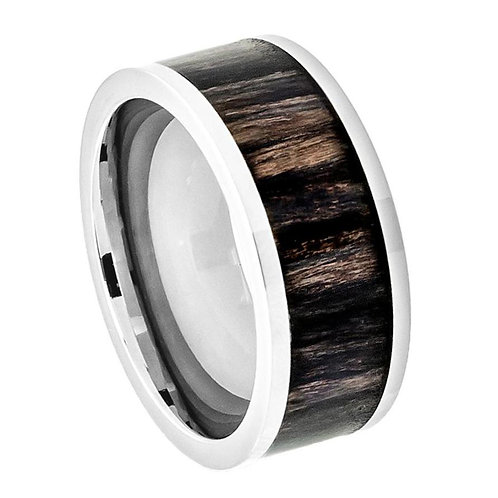 Titanium Ring with African Blackwood Inlay 8mm