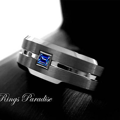 Mens Ring, Brushed Tungsten Carbide Ring  with Square Sapphire Stone Setting
