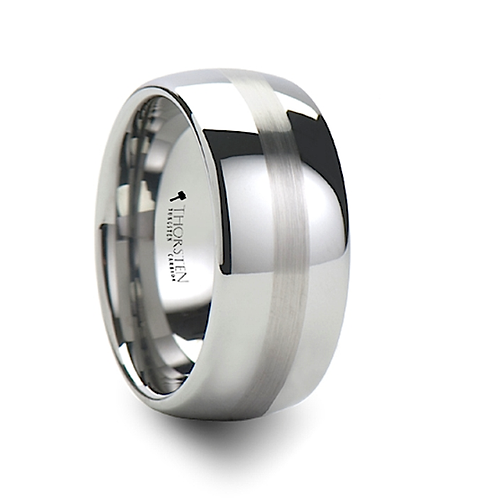 Brushed Stripe Tungsten Wedding Band- 10mm