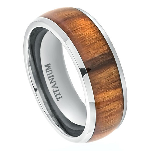 Titanium Ring with Santos Rosewood Inlay 8mm