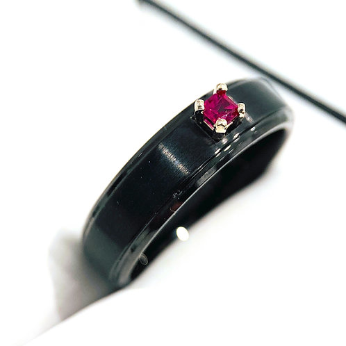 Red Square Ruby Stone Black Tungsten Ring, Wedding Band Women, Her Promise Ring