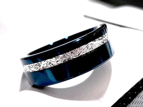 Matching Rings Set, Blue Tungsten Wedding Bands, Meteorite Inlay Tungsten Rings