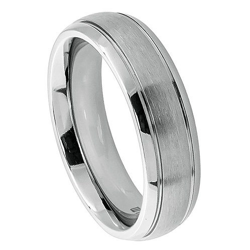 Titanium Ring Domed Brushed Center 6mm