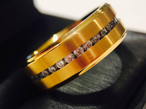 Yellow Gold Titanium Ring Cz Stone Setting Titanium Wedding Bands