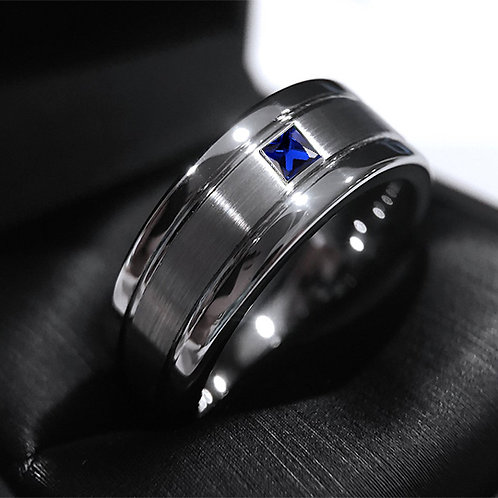 Mens Wedding Band, Blue Square Sapphire Stone Tungsten Carbide Ring by Rings Paradise