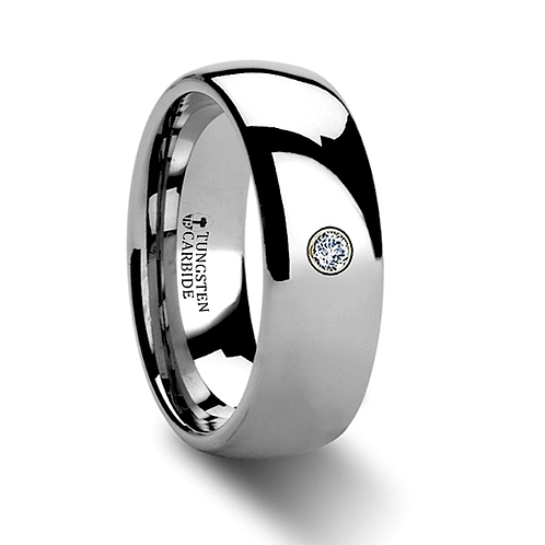 Rounded Tungsten Wedding Band with White Diamond