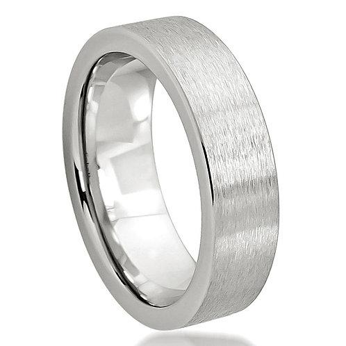 Cobalt Ring Flat Brushed Pipe Cut 6mm