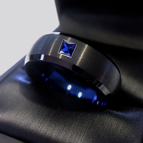 Black Blue Tungsten Ring, Domed Black Ring, Mens Engagement Ring, Blue Square Sapphire Stone Ring, Wedding Bands, Engagement