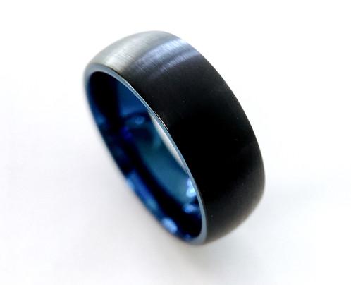 Black Blue Tungsten Wedding Band Mens And Women Tungsten Wedding