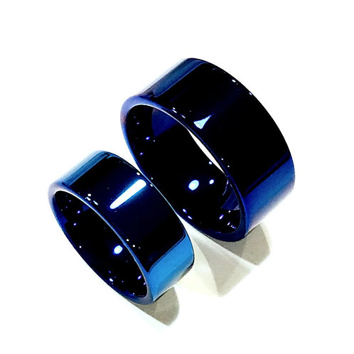 Blue Tungsten Matching Wedding Bands, Mens Women Tungsten Rings, His and Her