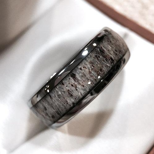 Real Antler Tungsten Ring, Antler Ring, Wedding Bands 8mm