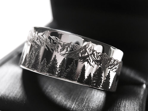 Fir Trees and Mountains Pattern Engraved Tungsten Carbide Ring, Mens Women Ring