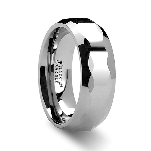 Tungsten Engagement Ring with Oval Facets - 8mm