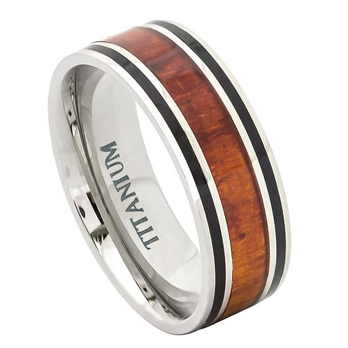 Titanium Ring with Hawaiian Koa Rosewood Inlay 9mm
