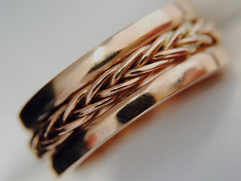 14k Rose Gold Celtic Ring, Celtic Wedding Band Set