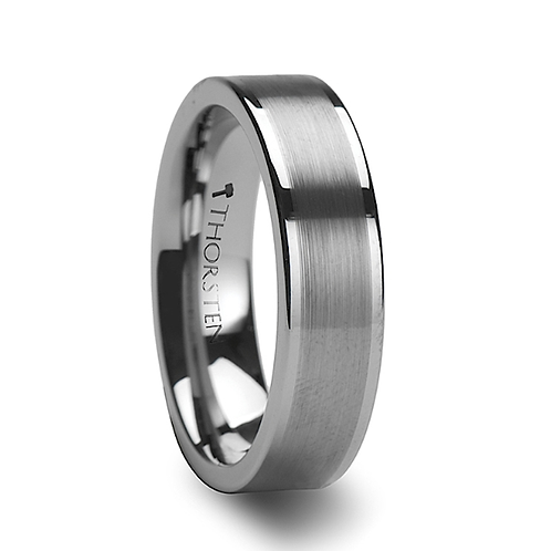 Tungsten Wedding Band,  Brushed Finished Center