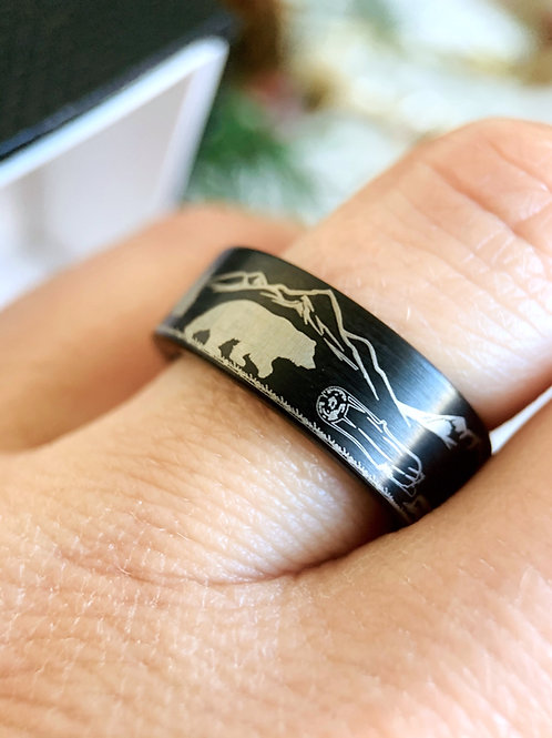 Black tungsten Ring, Wedding ring, Engagement Gift, Wedding Bands, Promise Ring, Mens Ring, Engagement Ring, Bears Ring