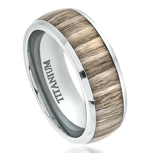 Titanium Ring with Ashen Zebra Rosewood Inlay 8mm