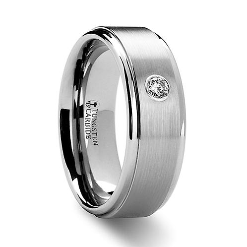 Tungsten Engagement Ring, Diamond Stone - 8mm
