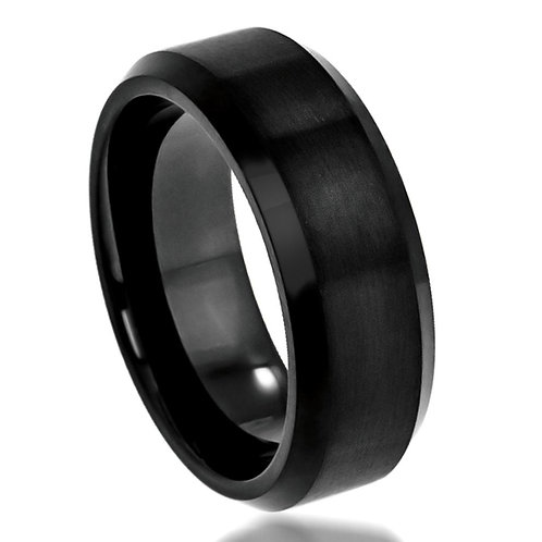 Black Cobalt  Wedding Band, Engagement Ring  8mm