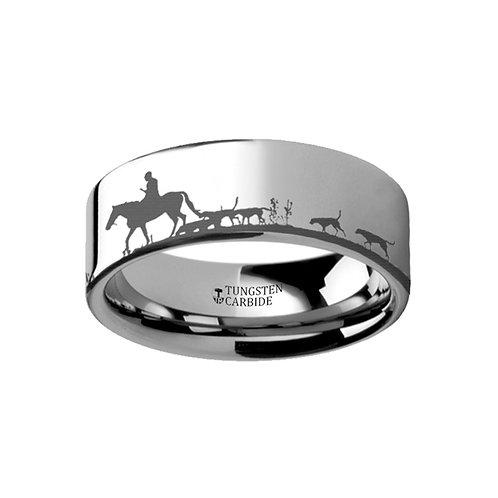 Scene Fox Hunt Hunting Ring Tungsten Wedding Band