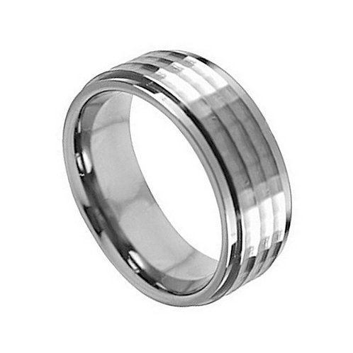 Titanium Ring Hammered Center 8mm