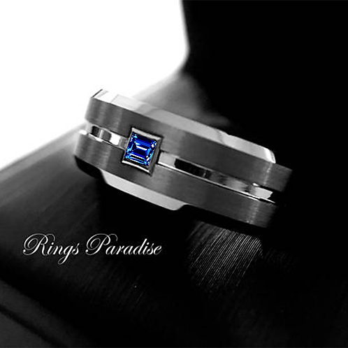 Men Tungsten Wedding Bands Square Sapphire Stone Setting Gun Metal Tungsten Ring Mens Anniversary Ring, Wedding Ring