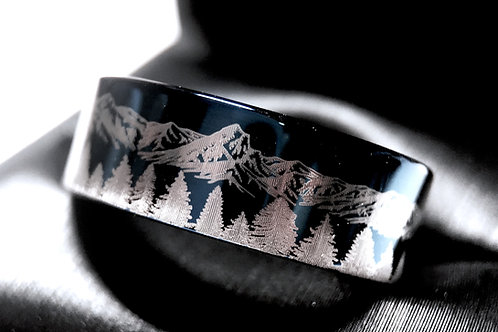 Mountains Forest Pattern Engraved Blue Tungsten Ring, Mens Ring, Women Ring