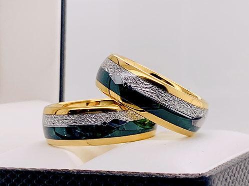 Matching Rings Set Yellow Gold Tungsten Green Agate Meteorite Ring Wedding Bands