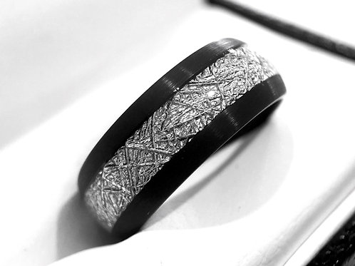 Meteorite Ring, Meteorite Jewelry, Mens Meteorite Wedding Band, Women Meteorite Ring, Black Tungsten Wedding Bands, Tungsten