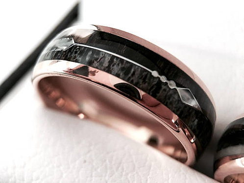 Arrow Inlay Rose Gold Tungsten Ring, Antler Ring, Wood Ring, Mens Tungsten Band