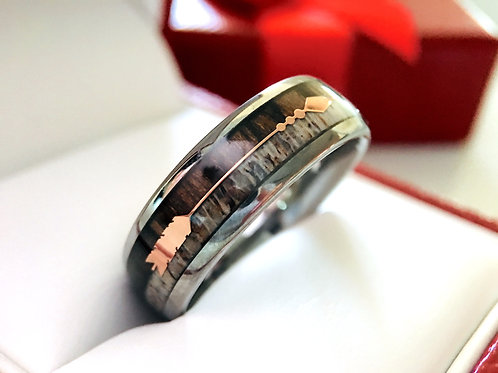 Wood Antler Ring with Rose Gold Arrow Inlay Tungsten Wedding Bands Mens Women