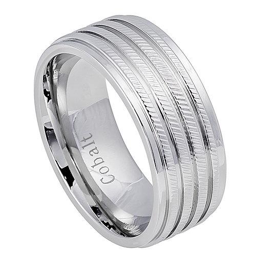 Cobalt Ring with Slanted Pattern Design  8mm