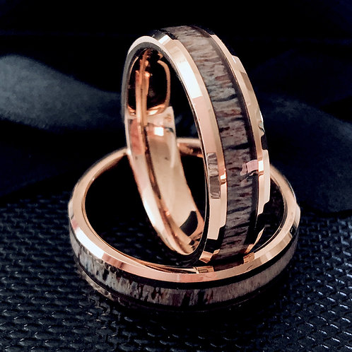 Rose Gold Tungsten Antler Inlay Ring, Real Antler Ring by Rings Paradise