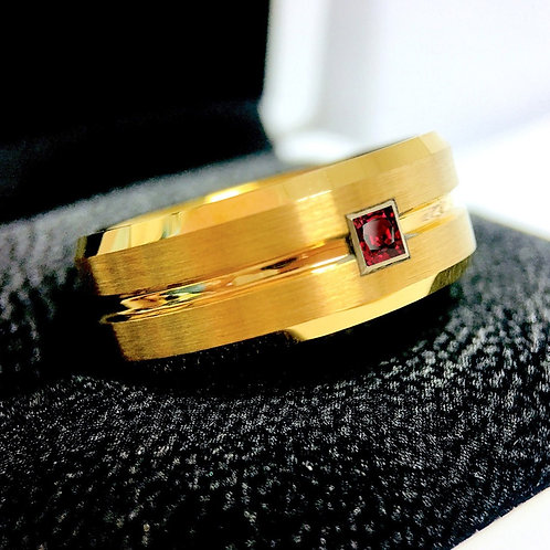 Yellow Gold Wedding Band, Mens Tungsten Ring, Square Ruby Tungsten Carbide Ring