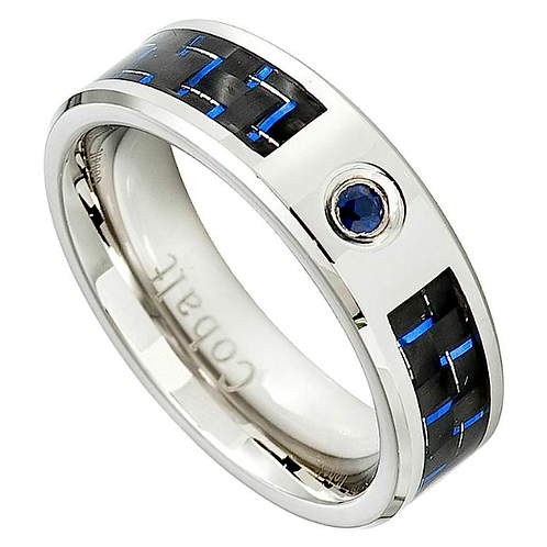 Cobalt Ring with Blue Sapphire Stone 8mm