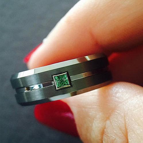 Men Gun Metal Brushed Tungsten Carbide Ring Square Emerald Wedding Bands 8mm