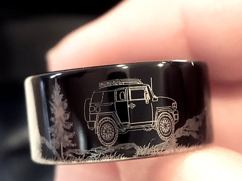 Jeep Car Engraved Ring, Mens Tungsten Ring, Wedding Ring, Wedding Bands, Black Mens Tungsten Ring, His Promise Ring,  Bands
