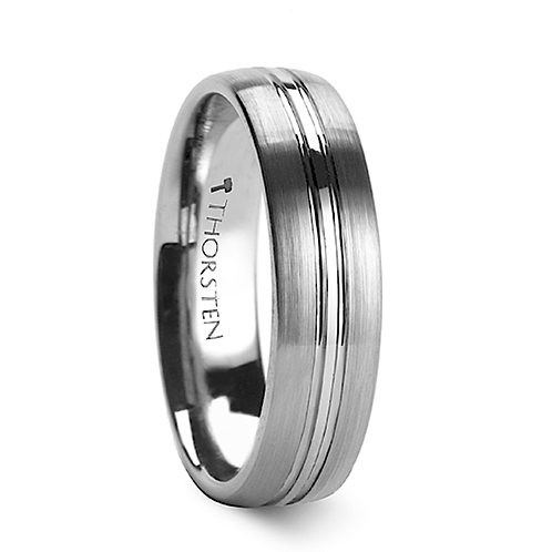 Rounded Brushed Center Groove Tungsten Ring 6-8mm