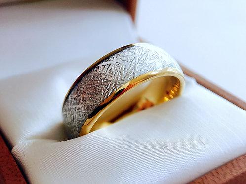 Yellow Gold Meteorite Inlay Ring, Meteorite Wedding Band for Men and Women