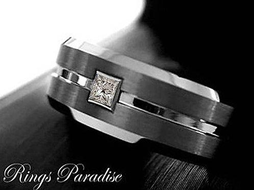 White Square Diamond Men Tungsten Ring, Wedding Bands, Mens Engagement Ring