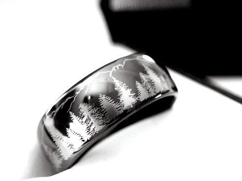Fir Trees & Mountains Ring, Gun Metal Tungsten Carbide Ring, Tungsten  Ring, 8mm