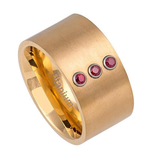 Matte Finish Pipe-cut Yellow Gold IP Titanium Ring