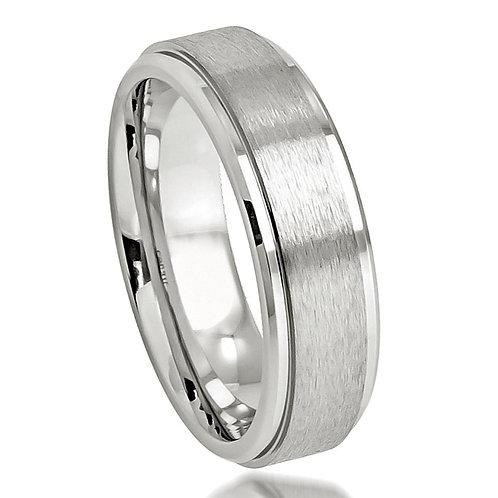 Cobalt Ring Brushed Center Polished Stepped Edge