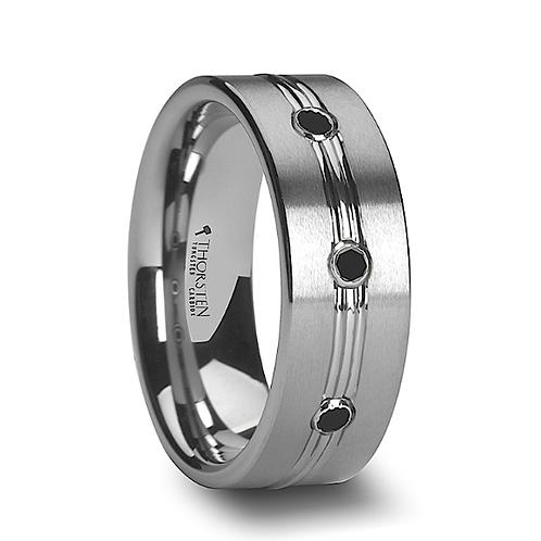 Tungsten Wedding Band with Black Diamond- 8mm