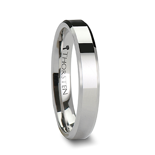 White Tungsten Carbide Ring with Beveled Edges 4mm