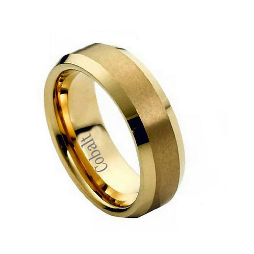 Cobalt Ring Brush Polished Gold Plated Center 6mm
