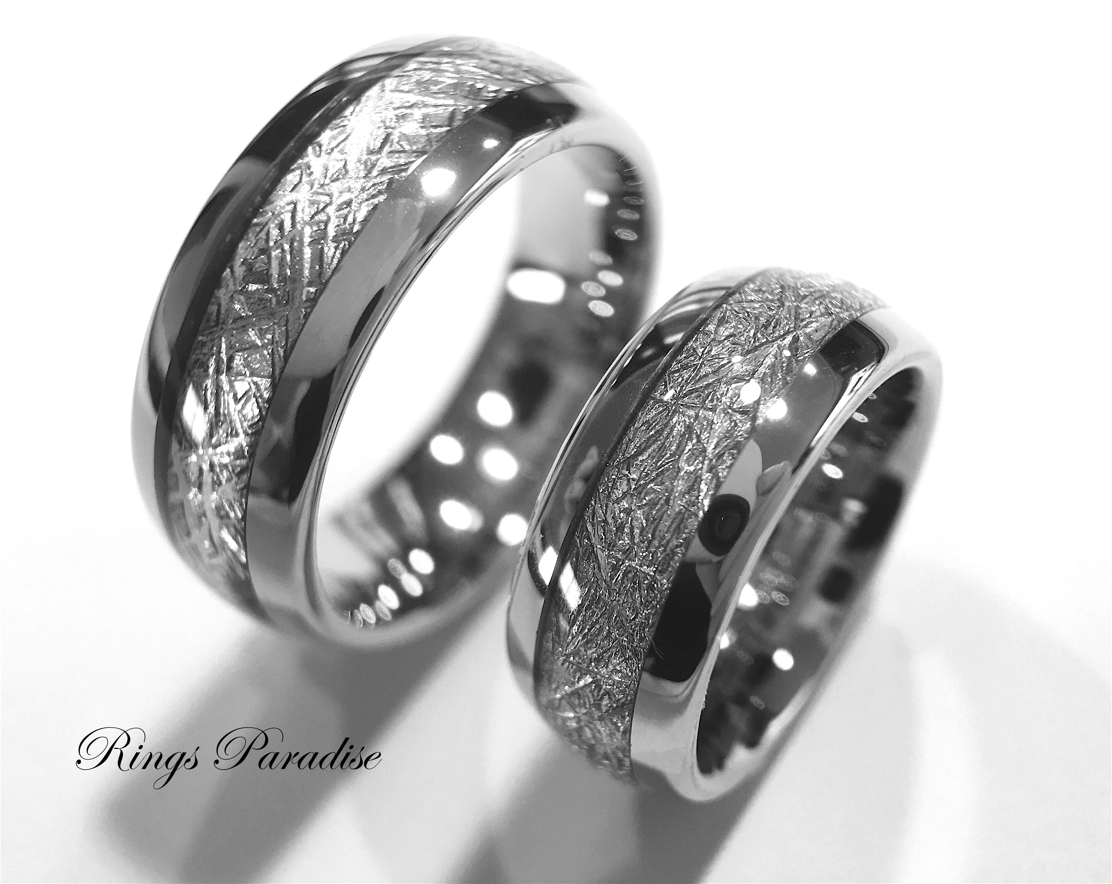Matching Set Of Meteorite Inlay Tungsten Ring Wedding Band Rings: Meteorite Wedding Bands Cheap At Reisefeber.org