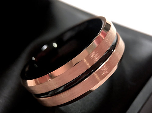 Mens Tungsten Wedding Bands, Rose Gold Wedding Bands, Black Tungsten Carbide Ring, Mens Engagement Ring, Mens Anniversary